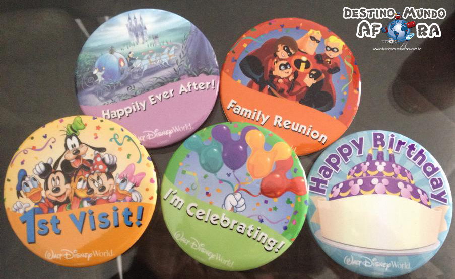 Walt Disney World: buttons comemorativos e gratuitos